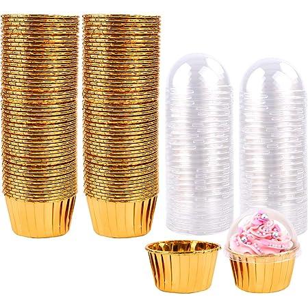 Étuis à cupcakes métalliques 100Pcs Étuis à cupcakes, Étuis à pâtisserie, Tasses à pâtisserie, Doublures à cupcake Cupcakes pour boules à gâteaux,Cupcakes,Weihnachten,Mariage,Anniversaire (Gold)