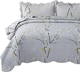 Bedsure Quilt Set-Full/Queen Size(9096 inches),Grey Plum Blossom