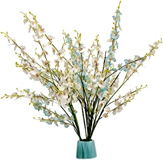 Artificial Orchid Flower Fake Silk Dancing Orchids Bouquet 10pcs with one 20LED Lighted Twig Branch for Wedding Home Office Party Hotel Restaurant Patio Yard Decoration (Dancing Orchids)