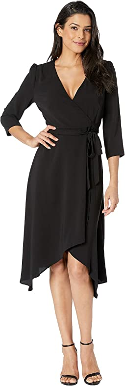 Fancy Crepe Wrap Dress w/ 3/4 Length Sleeves