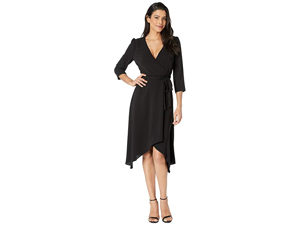 7d516f0d95 Adrianna Papell Fancy Crepe Wrap Dress w  3 4 Length Sleeves (Black) Women s  Dress