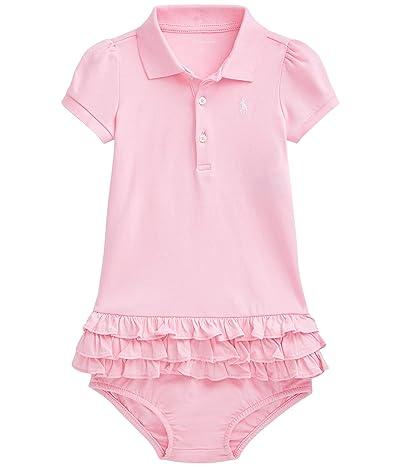 Polo Ralph Lauren Kids Interlock Solid Ruffle Dress (Infant) (Carmel Pink/White) Girl