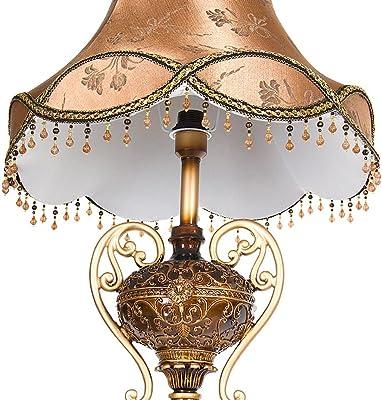 MILUCE ヨーロッパスタイルのレトロなベッドルームのリビングルームのレストランは樹脂アンティークの布の垂直フロアランプを導いた