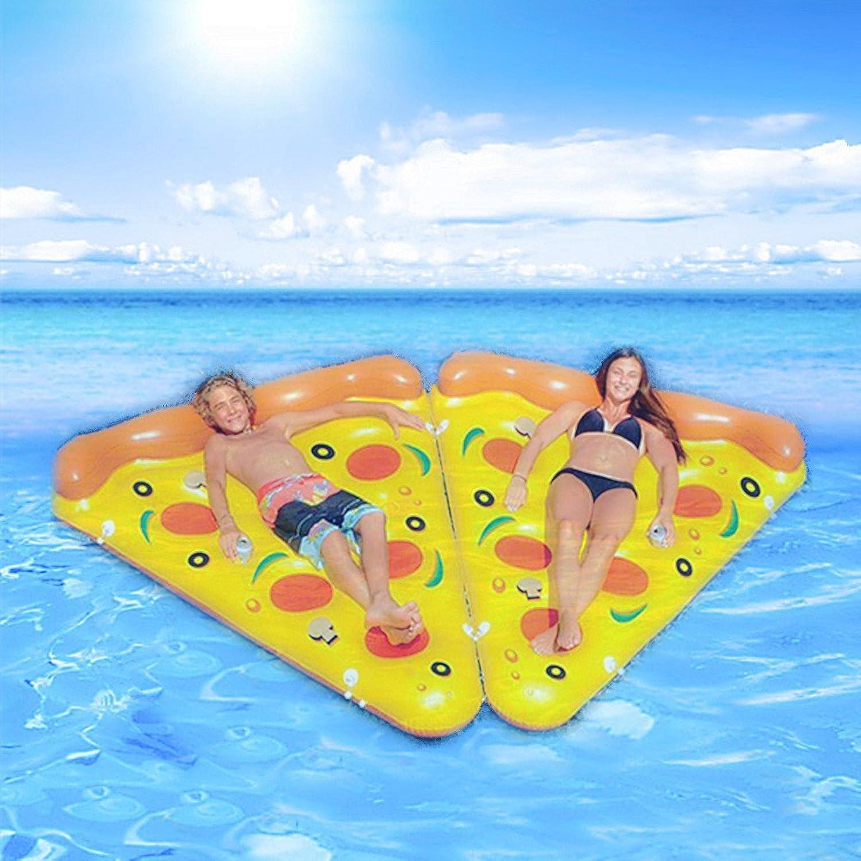 IACON Pizza Schwimmende Reihe Aufblasbares Bett 2 in 1 Obst-Serie Schwimmbad Sommerfest Prchen Erwachsene Kind wasserspielzeug schlafliegen klappbar mit aufblasbarer Pumpe