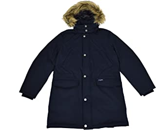 Brooks Brothers Men's Navy Heavy Nylon Duck Down Insulated Removable Hood Parka Winter Coat (XX-Large)