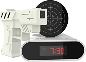 TM Games Toy Gun Alarm Clock Game-Infrared Laser Activated Snooze Target, Record Personalized Alarm, 12 Hour Digital Display, Sound Effect