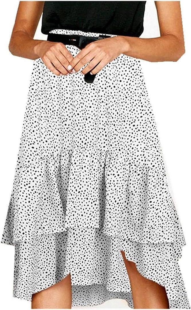 Dotted Print Attention brand wholesale Irregular Pleated Wave Waist High Skirt Basic Mini
