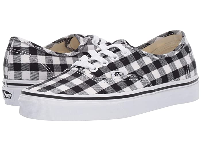 Retro Vintage Flats and Low Heel Shoes Vans Authentictm Gingham BlackTrue White Skate Shoes $54.99 AT vintagedancer.com
