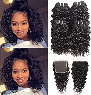 Ms Taj Brazilian Water Wave Bundles with Closure 10A Brazilian Virgin Hair 4 Bundles with Lace Closure Free Part Unprocessed Wet and Wavy Human Hair Extensions Natural Black (water 8 8 8 8+8 closure)