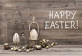 CSFOTO 6x4ft Background for Retro Birdcage Eggs Nest Happy Easter Photography Backdrop Vintage Wood Spring Tradition Holiday Religion Celebration Child Newborn Photo Studio Props Polyester Wallpaper