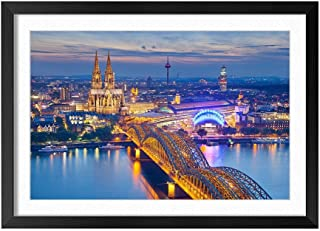 Cologne Germany Cathedral Night City Bridge - Natural Scenery Art Print Home Decor Wooden Frame Poster(Black Frame 16x24inch)