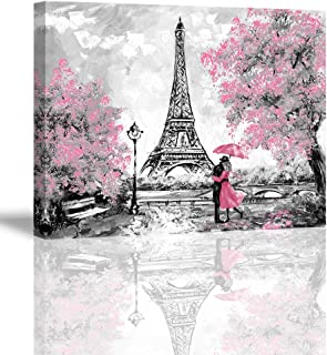 Home Wall Art Décor of A Couple Under an Umbrella On Street,Oil Painting Paris. European City Landscape. France Wallpaper ...