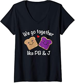 Womens We Go Together Like PB & J - Peanut Butter and Jelly V-Neck T-Shirt