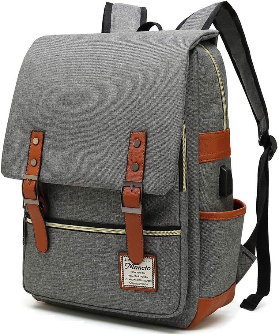 MANCIO Slim Laptop Backpack with USB Charging Port,Vintage Tear Resistant Business Bag for Travel,College, School, Casual Daypacks for Man,Women, Fits up to 15.6Inch Macbook in Grey