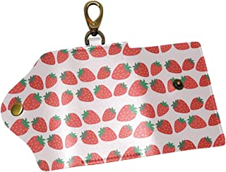 KEAKIA Strawberries Pattern Leather Key Case Wallets Tri-fold Key Holder Keychains with 6 Hooks 2 Slot Snap Closure for Men Women