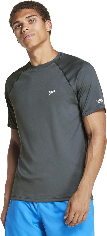 Speedo Men's UV Swim Shirt Short Sleeve Regular Fit Solid