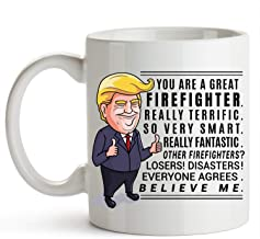 Firefighter Cup 11 Ounce Trump Mug Firefighter Gifts For Men Fireman Gifts For Men Fire Department Gifts