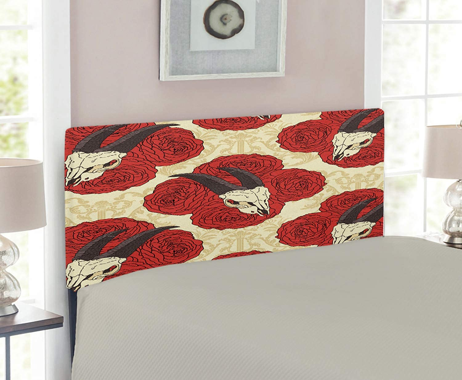 Lunarable Gothic Headboard for Twin Size Bed, Goat Skull on Red pinks Horn Pattern Animal Bone Traditional Symbol Art Print, Upholstered Decorative Metal Headboard with Memory Foam, Beige Vermilion