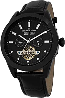Herzog & Söhne men's automatic Watch with black Dial analogue Display and black leather Strap HS512-622