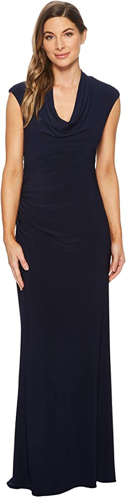 Cap Sleeve Stretch Jersey Gown with Draped Cowl Neck