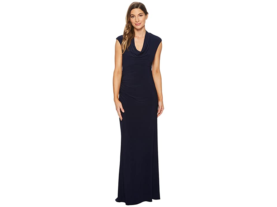 Adrianna Papell Cap Sleeve Stretch Jersey Gown with Draped Cowl Neck (Midnight) Women