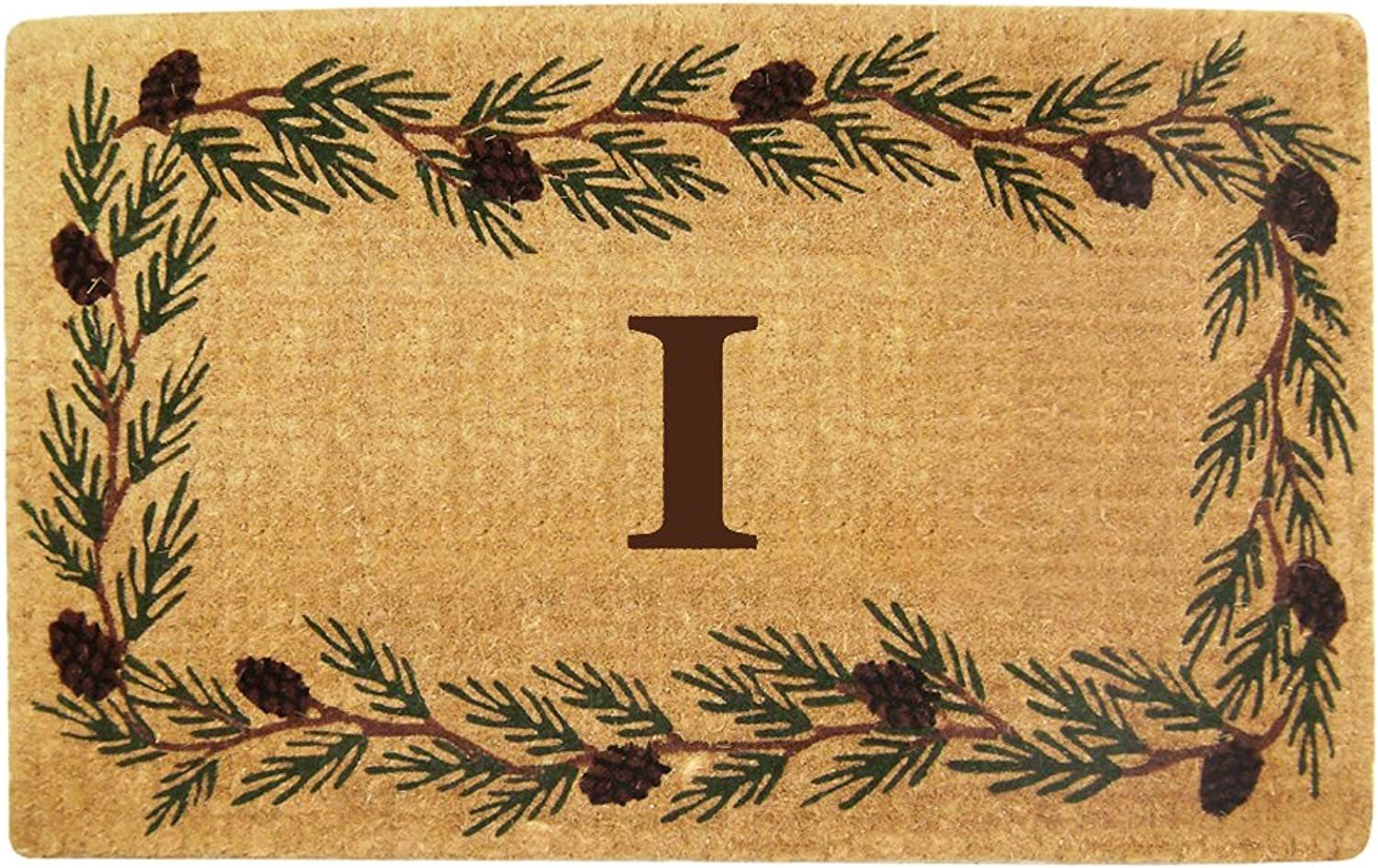 Nedia Home Heavy Duty Coco Mat with Evergreen Border, 22 by 36-Inch, Monogrammed I
