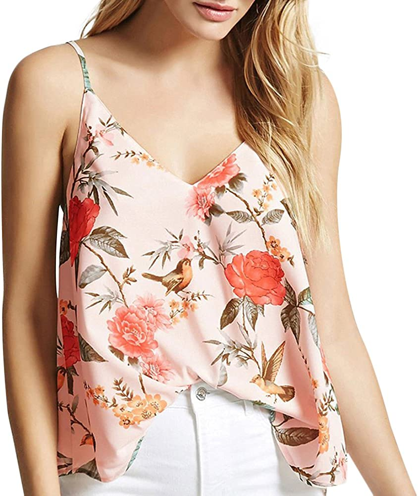 LODDD Women Fashion Blouse V-Neck Casual Loose Floral Printed Sleeveless Tops T-Shirt Vest