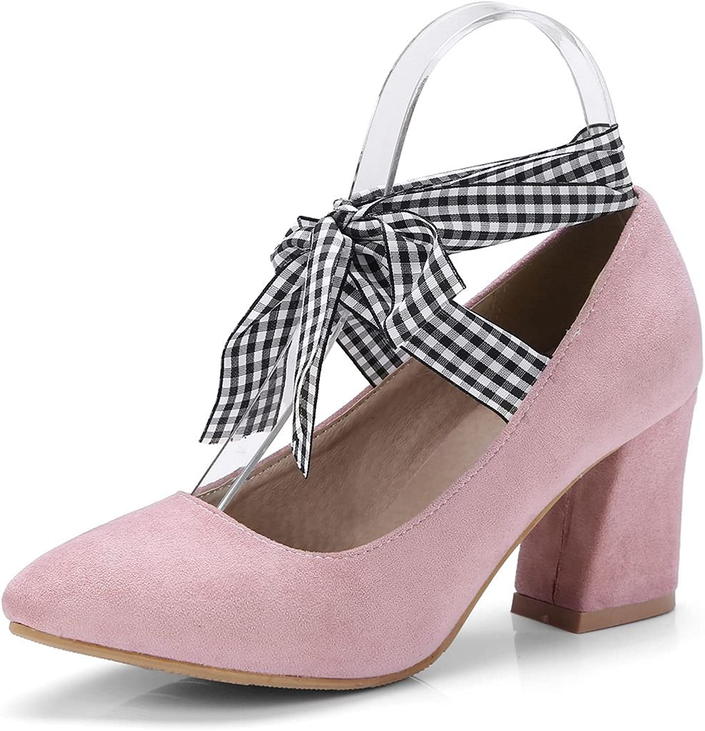 DecoStain Women's Pointed Toe Bowtie Lace Up Mid Chunky Heel Pumps Work Party shoes