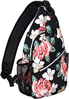 MOSISO Sling Backpack, Polyester Crossbody Shoulder Bag for Men Women Girls Boys, Rose