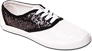 Women's Starlight Sequin Black & White Saddle Shoe Canvas Oxford Sneakers