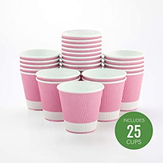 25-CT Disposable Black 4-OZ Hot Beverage Cups with Ripple Wall Design: No Need for Sleeves – Perfect for Cafes or Home Use – Eco-Friendly Recyclable Paper – Insulated – Wholesale Takeout Coffee Cup