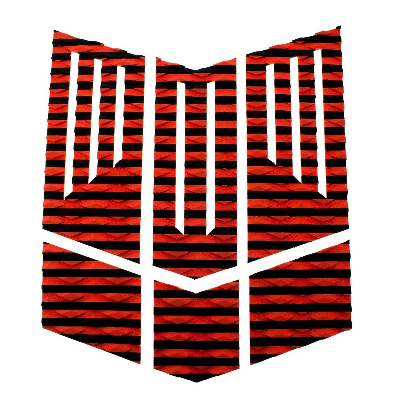 やがて過去一掃するロゴ無し サーフィン フロント 用 デッキパッド カスタム グリップ 6 カット パターン 赤×黒 ボーダー