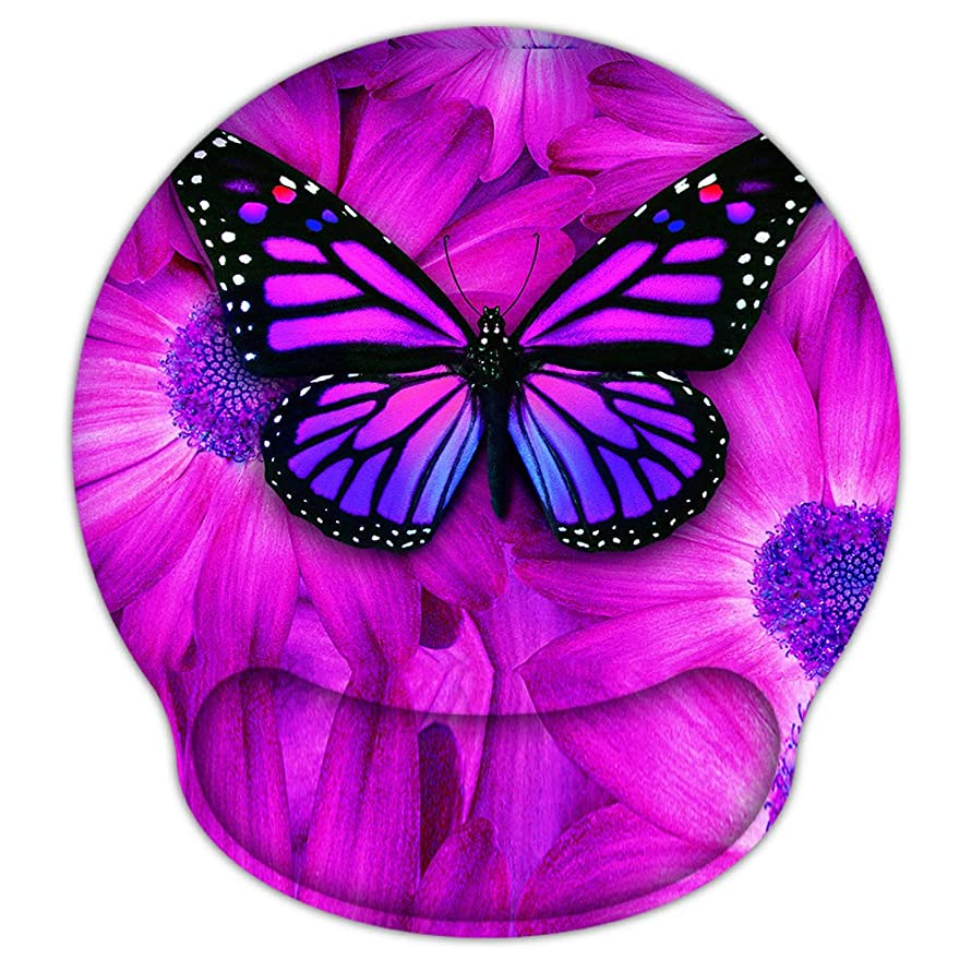 ICOLOR Big Purple Butterfly Water Resistant Mouse Pad with Wrist Rest, 9