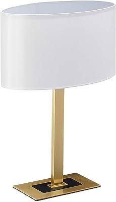 Relaxdays Lampe de chevet, élégante, avec câble, E14, abat-jour ovale, 48x33x19,5 cm, laiton