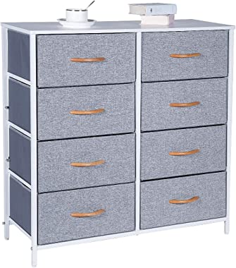 Kamiler Dresser with 8 Drawers, Tall Vertical Storage Organizer, 4-Tier Wide Drawer Dresser, Tower Unit for Bedroom/Hallway/E