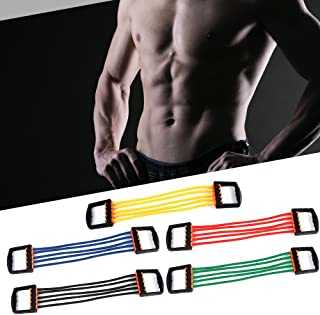 Decdeal Portable Indoor Chest Expander Puller Adjustable 5 Tubes Resistance Band Exercise Fitness Resistance Cable Rope Tu...