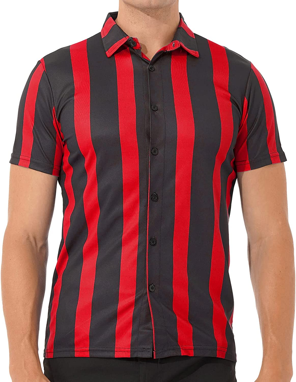 ACSUSS Men's Striped Shirts Casual Short Sleeve Button Down Shirt Loose Fit Dress Shirts