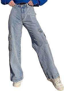 Classic Plain Loose Hip Hop Pants Women Comfortable Straight Leg Jeans High Waist Lightweight Outdoor Cargo Sweatpants