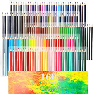 160 Oily Art Coloured Pencils Set for Children & Adults Colouring Books Artwork with Eraser and Sharpener by Ccfoud