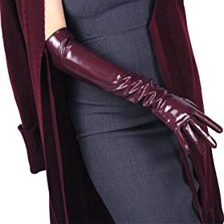 Women Latex Long GLOVES Shine PU Leather Faux Patent Wet Look 20-inch Opera Cosplay Dark Red Purple