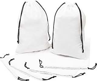 Flannel Drawstring Bags For Travel, Organization and Home To Prevent Dust And Protect From Environment- Set of 6 (White, 10 x 15 inch)