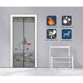Liveinu Mosquitera Puertas Fibra De Vidrio Incombustible Mosquitera Magnética Automático para Puertas Cortina de Sala de Estar la Puerta del Balcón Puerta Corredera de Patio Gris 100x220cm: Amazon.es: Bricolaje y herramientas
