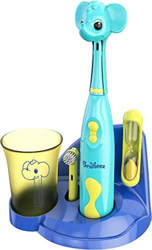 Brusheez® Kids Electric Toothbrush Set (Safari Edition) - Battery Operated, Soft Bristles, Easy On/Off, 2 Brush Heads...