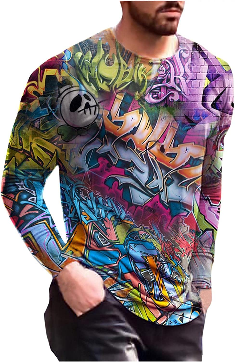 Men T-Shirts 3D Painting Abstract Printed Graphic Tee Casual Round Neck Long Sleeve Tops Workout Sport Men's T Shirts