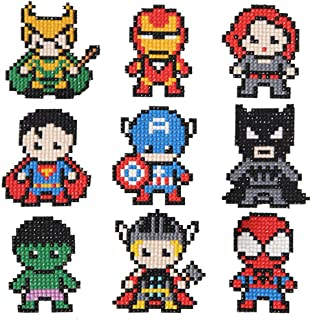 COLEEY Diamond Painting Stickers Kits for Kids,5D Hero Diamond Art Mosaic Stickers by Numbers Kits - 9 Pieces multicolored CW