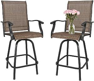 Outdoor Swivel Bar Stools-Patio Bar Height Furniture Chair Set, Set of 2, Black Frame