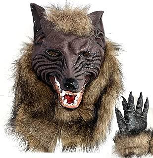 Huntingdoor Latex Wolf Head Mask Halloween Costumes Werewolf Mask with Werewolf Hands