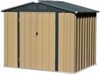 8x6 FT Storage Sheds Outdoor, Utility Steel Tool Sheds for Garden Backyard Lawn, Large Patio House Building with Lockable Doo