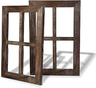 BESTOOL Viejo marco de ventana rústico Barnwood - decoración para el hogar o al aire libre, no para fotos, Paquete de 2 (40 x 28 cm)