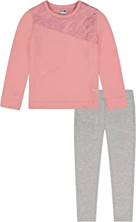 PUMA girls Fleece Crewneck Pullover & Jogger Set